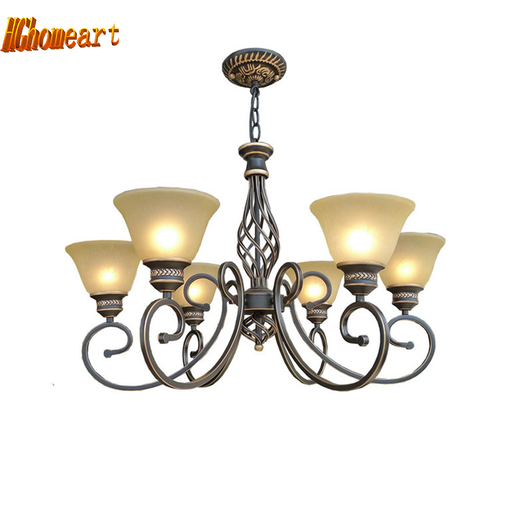HGhomeart Country Style Antique Iron Chandelier E27 LED Bulb 110V/220v Vintage Lamp Home Lighting Modern Dining Room Chandeliers сушилки munchkin