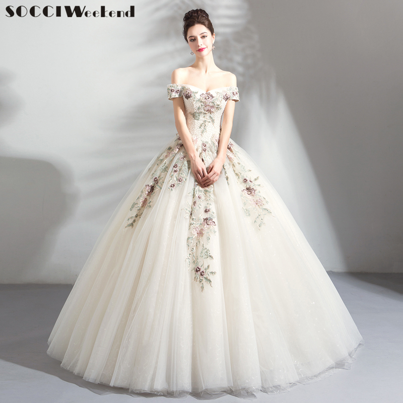 SOCCI Wedding Dress Luxury Colorful Lace Flower Tulle A-line Bridal Gown Long Appliques Beading Floor-length Vestido De Noiva