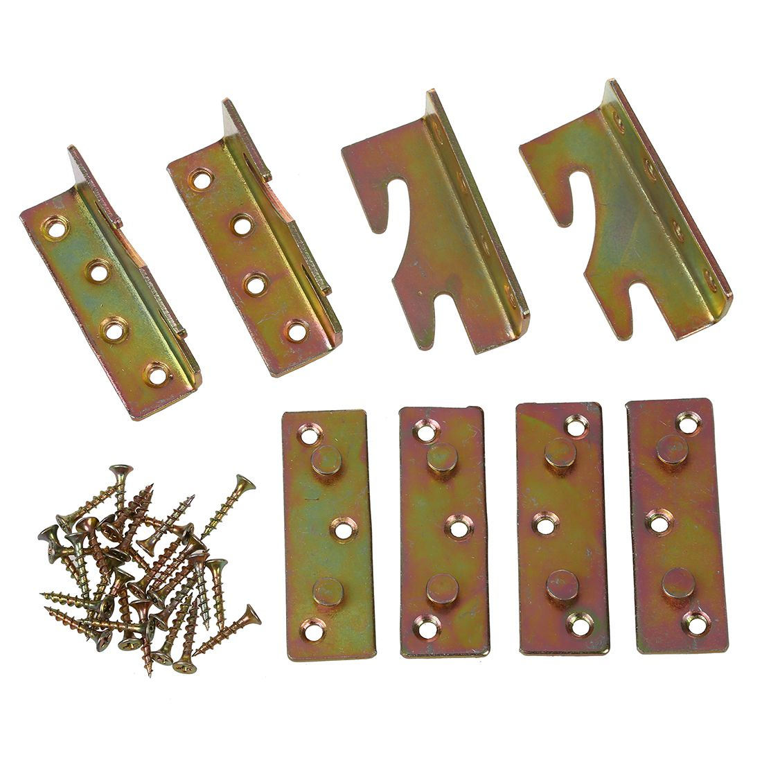 Furniture Wood Bed Rail Clamp Mount Push Button Connector 4pcs