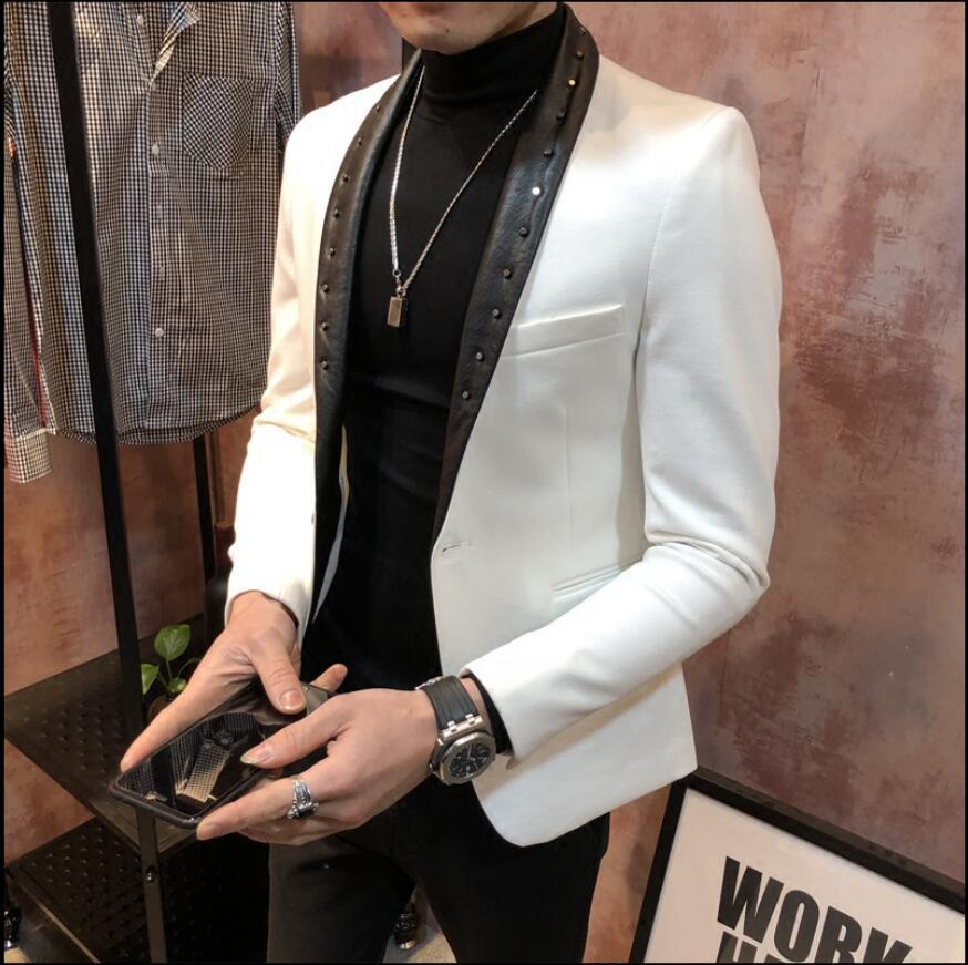 Rebite jaquetas masculina moda ternos vestido anfitrião magro versão coreana do pequeno terno boate barbeiro jaqueta preta primavera e outono - 2