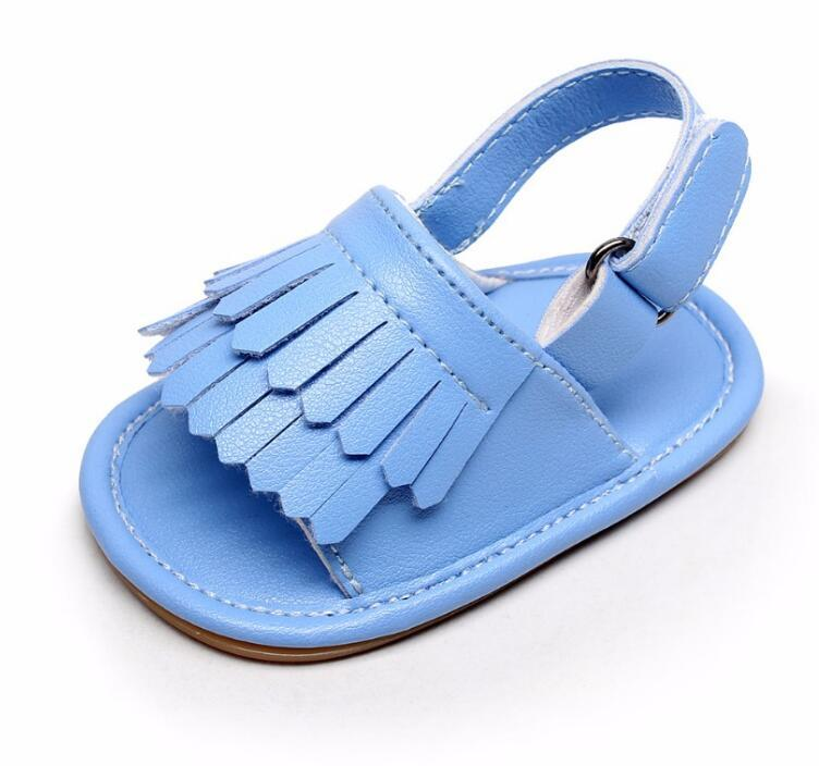 Hongteya hot sale Summer infant baby sandals solid Pu leather Baby moccasins kids Double Tassel Rubber bottom shoes for 0-24MHongteya hot sale Summer infant baby sandals solid Pu leather Baby moccasins kids Double Tassel Rubber bottom shoes for 0-24M