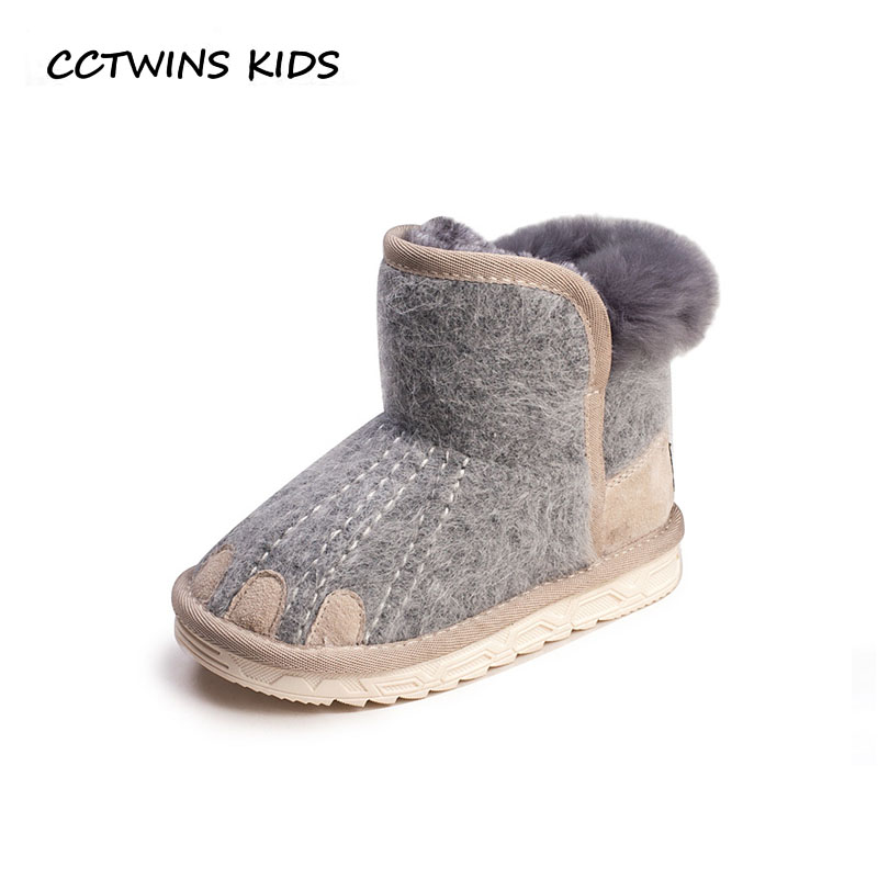 CCTWINS KIDS 2018 Winter Baby Girl Fashion Genuine Leather Snow Boot Children Black Ankle Boot Boy Warm Shoe Toddler CS1535
