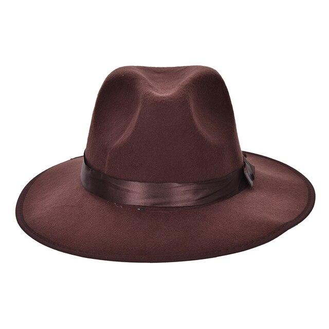 Café negro mujeres hombres unisex vintage Sopladores Jazz sombrero Trilby  Derby Cap Fedora estilo sombreros al 8f89554c5ba