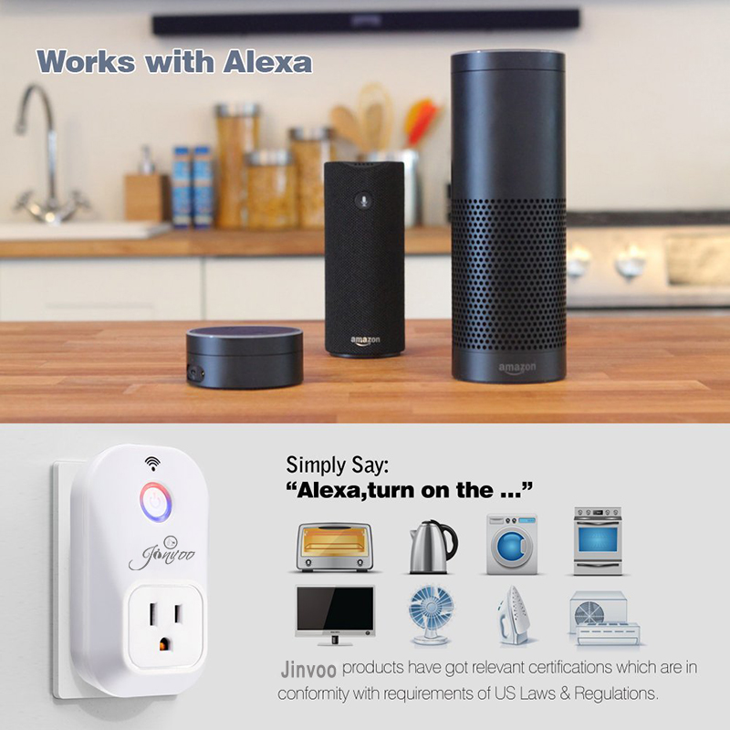 Works with Amazon Alexa Echo Jinvoo Smart Plug,701U Wi-Fi Plug Control your Devices from Anywhere,No Hub Required xenon wi fi bulb smart wreless bulb app control rgb e27 led lamps hot sale smart led lighting bulbs works with amazon echo alexa