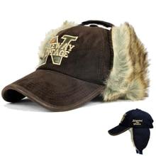 HT646 Winter Rabbit Fur Baseball Cap for Men Letters N Ear Flap Hat Fashion Russian Fur Trapper Hats Women Earmuffs Winter Hats