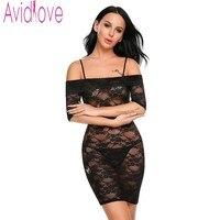 Avidlove Brand Sexy Lace Floral Lingerie Slash Neck Adjustable Spaghetti Strap Sleepwear See Through Erotic Pajamas