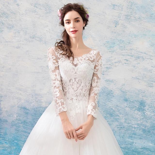 Винтажное свадебное платье с иллюзией, рукав три четверти, полная длина, без шлейфа, свадебные платья без спинки