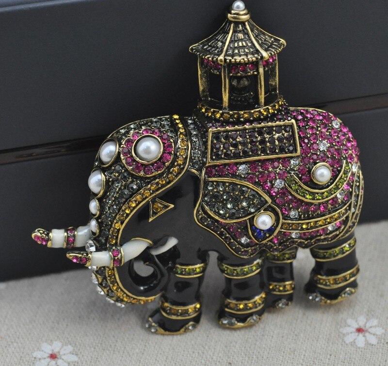 Broche de elefante de luxo, broches vintage