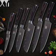 XYj кухонные ножи наборы для готовки дамасский узор 7cr17 нож из нержавеющей стали шеф-повара нарезки сантоку ножи для чистки овощей и фруктов инструменты для приготовления пищи
