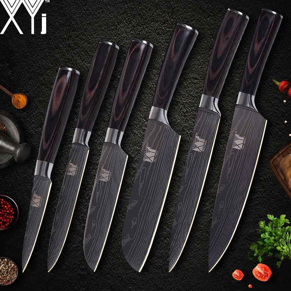 XYj cuisine couteau cuisinier ensembles damas modèle 7cr17 en acier inoxydable couteau Chef tranchage Santoku utilitaire d'office couteau outils de cuisson