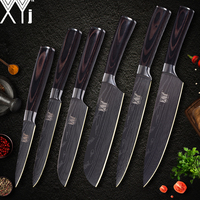 XYj Kitchen Knife Cook Sets Damascus Pattern 7cr17 Stainless Steel Knife Chef Slicing Santoku Utility Paring Knife Cooking Tools