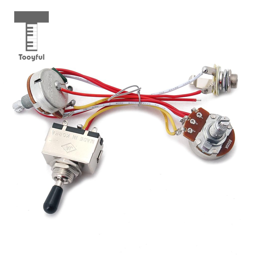 Tooyful Guitar Pickup Wiring Harness Kit 3 Way Toggle Switch 500K Pots for  Electric Guitar Cigar Box Guitar Replacement Parts-in Guitar Parts &  Accessories ...