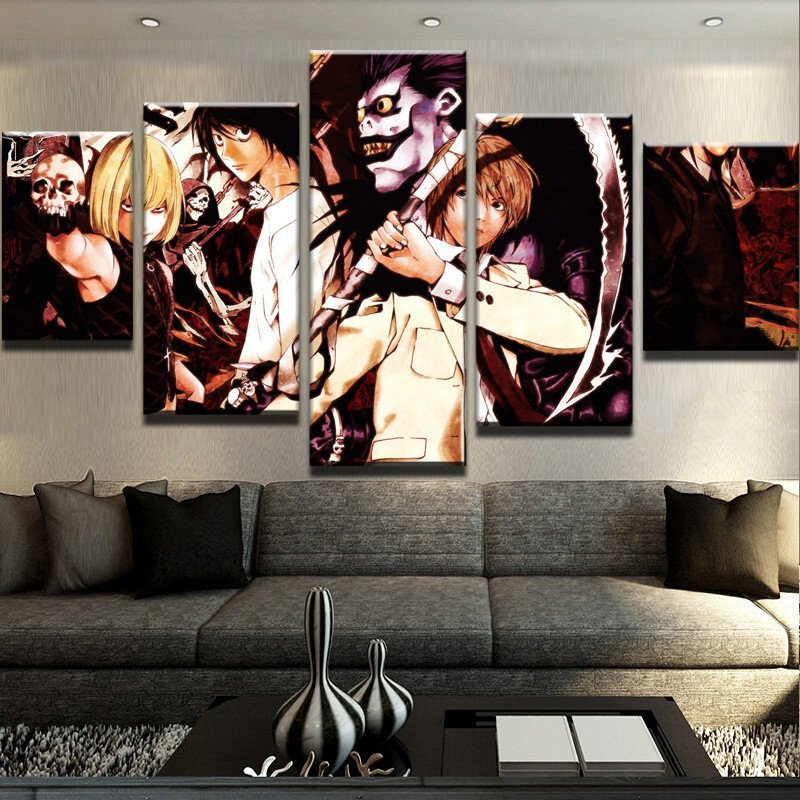 5 Panel Canvas Printed Death Note Decoration Animation