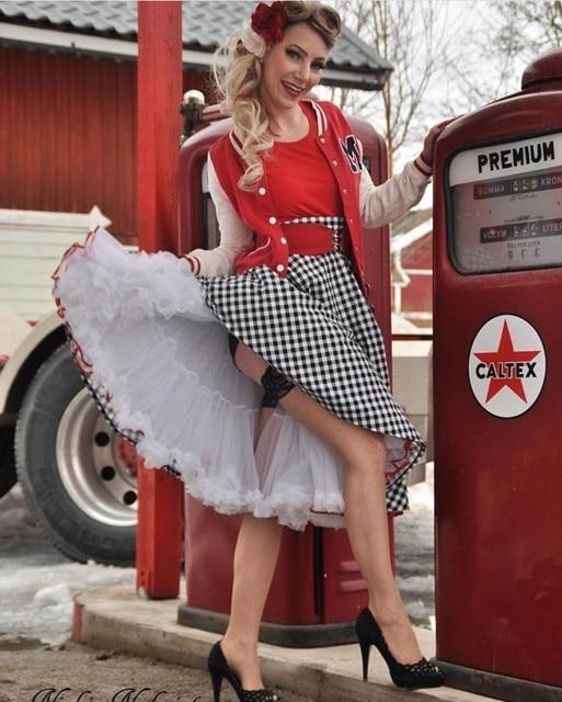 02669d1a0ef 40- women vintage 50s Audrey Hepburn elegant circle swing skirt in white  black gingham plus size skirts rockabilly pinup faldas