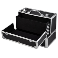 Large Space Storage Beauty Box Make up Jewelry Cosmetic Vanity Case Cosmetic Box(Black)