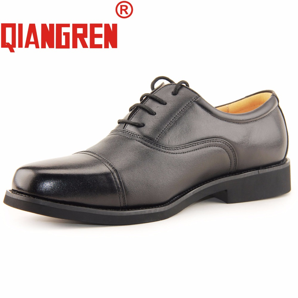 QIANGREN High-grade Quality Military Factory-direct Mens Autumn Genuine Leather Oxfords Black Dress Shoes Formal Business Scarpe top quality crocodile grain black oxfords mens dress shoes genuine leather business shoes mens formal wedding shoes