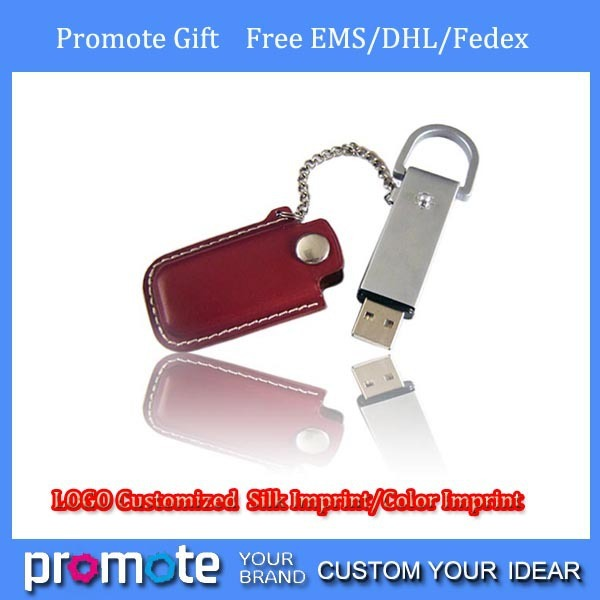 Free EMS/DHL Custom Leather USB Sticks Best Promotion Gifts 1GB 2GB 4GB 8GB 16GB 100 % Real USB Flash Drives