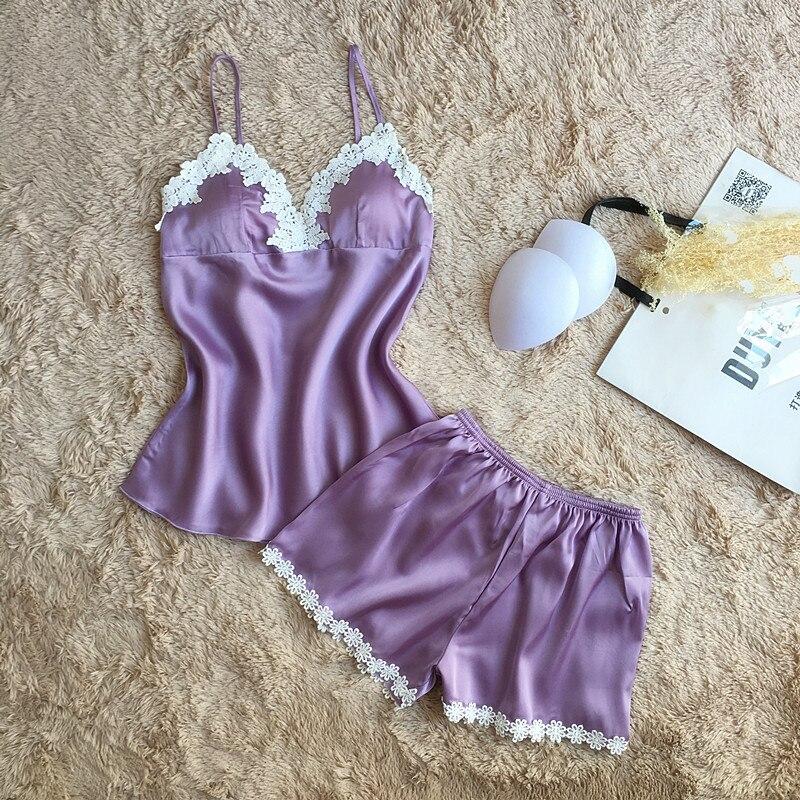 Fiklyc Brand Pajamas Sets For Women Fashion Lace Satin Pijama Summer Nightwear Sexy Lingerie Pajamas Pyjamas Women Homewear New #3