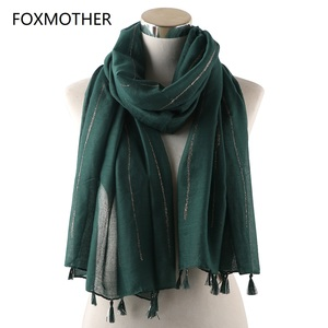Image 1 - FOXMOTHER New Autumn Winter Shiny Shimmer Gold Glitter Muslim Scarfs And Hijab Women Pashmina Tassel Scarf Striped Ladies 2019