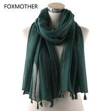 FOXMOTHER nowa jesienna zima błyszczące Shimmer złota brokatowa muzułmańskie szaliki i hidżab kobiety Pashmina Tassel szalik paski damskie 2019