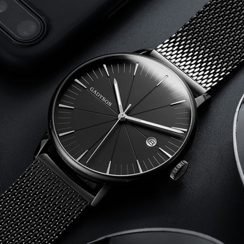 Luxury Black Mesh Steel Quartz Watch for Man
