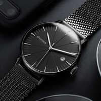 Mode-Business Uhr Männer Luxus Marke Gold Schwarz Mesh Stahl Quarzuhr für Mann Minimalistischen Handgelenk Uhren Relogio Masculino