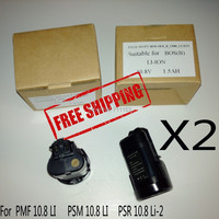 Free Shipping 2 Pcs Pack Replacement Screwdriver Battery For Bosch PMF 10 8 LI PSM 10