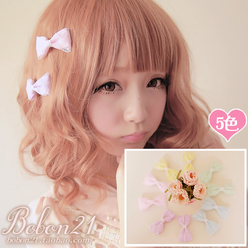 Sweet lolita princess pink BOBON21 Candy color colorful  lace bow hairpin hair accessory a pair of ac0793 multi-color