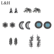 L&H 7Pairs/Set Silver 7PStud Earrings Set Cute Elephant For Women Round/Flower/Leaves/Rhinestone Earings in Jewelry