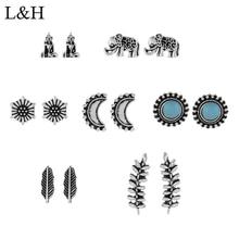L&H 7Pairs/Set Silver 7PStud Earrings Set Cute Elephant For Women Round/Flower/Leaves/Rhinestone Earings in Jewelry