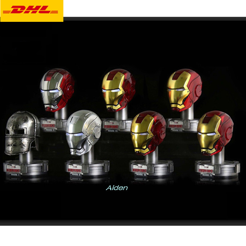 7 Pcs/set Statue The Avengers 1:5 Iron Man Tony Stark Helmet Galvanograph With Led Light Metal Action Figure Toy Box 7cm B441