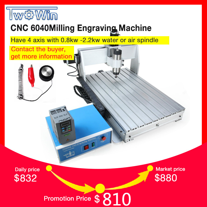 800W CNC 6040 Three axis CNC Router Engraver Engraving Milling Drilling Cutting Machine Control box Inverter