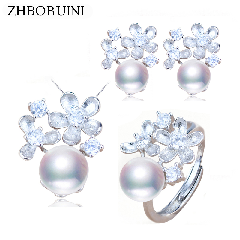 ZHBORUINI Fashion Pearl Jewelry Set Natural Freshwater Pearl Flower Ring Necklace Earrings 925 Sterling Silver Jewelry For Women a suit of graceful faux pearl flower shape necklace and earrings jewelry for women