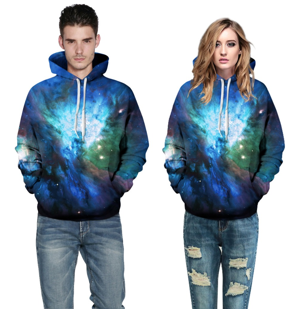 Echoine Lovers Autumn Hooded Hoodies Big Size 2017 Lady Women Men Aurora Galaxy Digital Printed Sweatshirts Couples Loose Tops