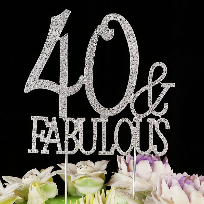 Groovy 40 Fabulous Birthday Cake Topper Rhinestone Monogram Number 40 Funny Birthday Cards Online Overcheapnameinfo