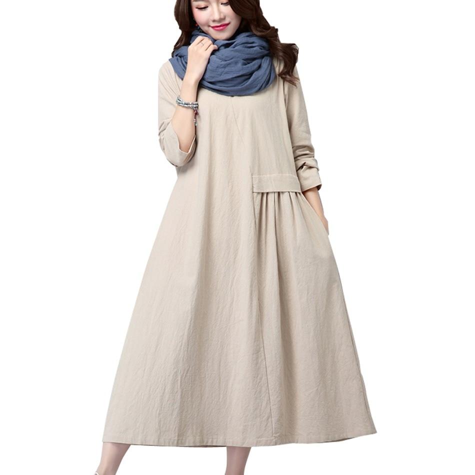 3402477f2 GUYUNYI 2017 Women's Fashion Vintage Loose Big Yards National Wind Linen  Cotton Dress High Quality Casual
