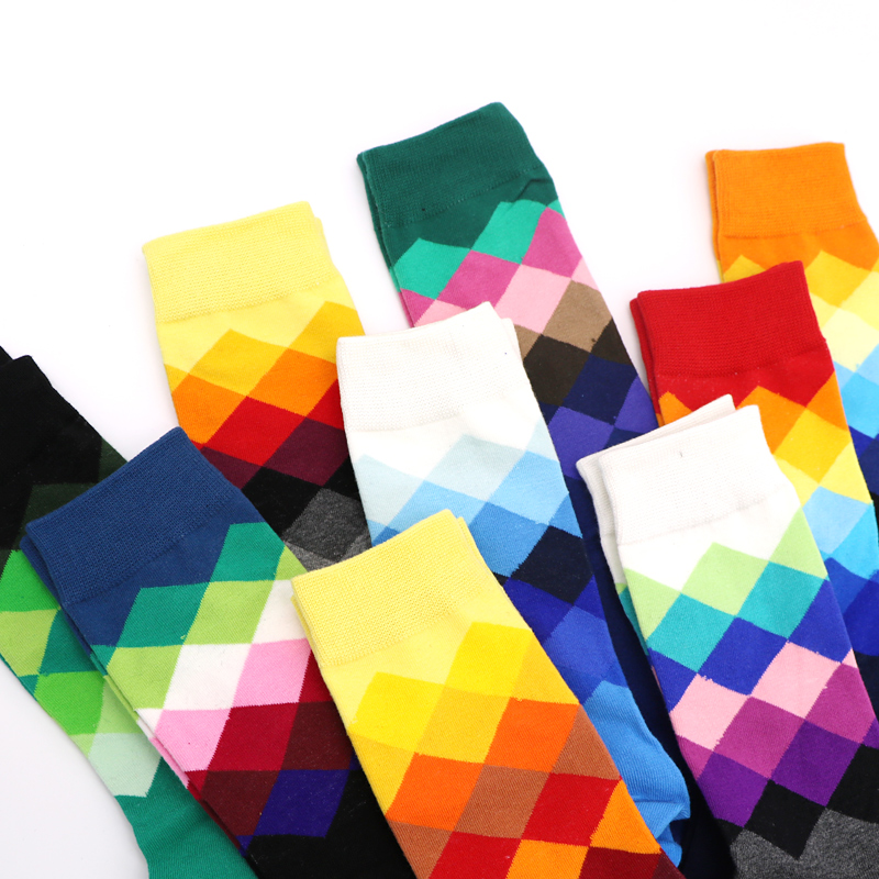 3pair Long Mens Socks Gradient Color Colorful Novelty 3d Funny Socks For Man Chaussettes Homme Business Dress Socks Art Meias Buy One Give One Men's Socks
