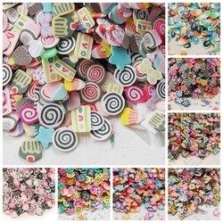 Moda 1000 ADET 5mm Nail Art 3d Çok Tarzı Mix Renk Küçük FeatherFimo Dilimleri Polimer Kil DIY Güzellik Tırnak çıkartmalar Süslemeleri