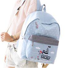 2016 Новая Мода в горошек печати холст рюкзак мешок школы Mochila Bagpack Mochilas ноутбука Рюкзаки Дорожные сумки бесплатная доставка
