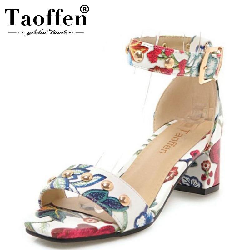 2019 Mode Taoffen Größe 34-43 Frauen Geprägte Blume Schuhe Frau Sommer Ankle Strap Chunky Ferse Niet Sandalen Dame Büro Schuhe Letzter Stil