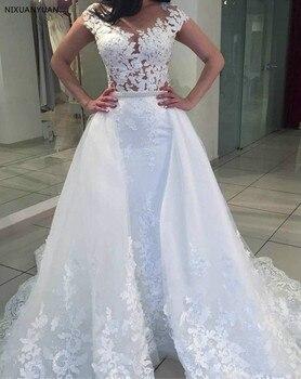 868fcd116d7bf Vestido De Noiva Cap Sleeve Mermaid düğün elbisesi Ayrılabilir Tren düğün  elbisesi es Illusion gelinlikler