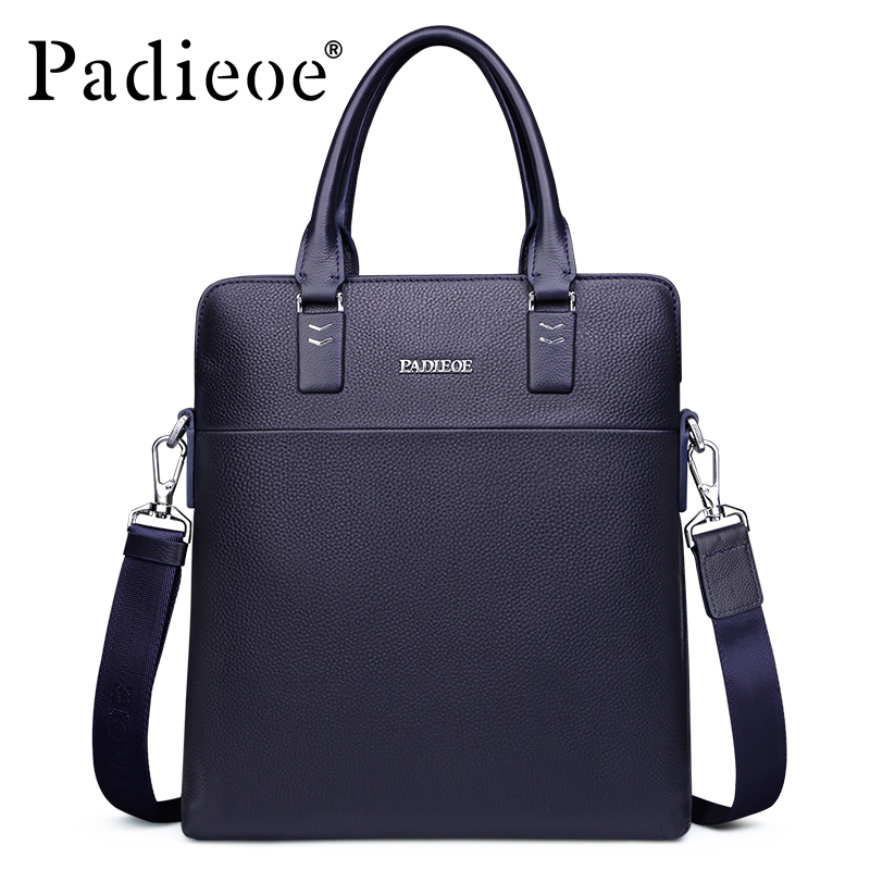 Padieoe Men's Genuine Cow Leather Messenger Bag High Quality Crossbody Bag Luxury Brand Handbag Mens Travel Shoulder Bags