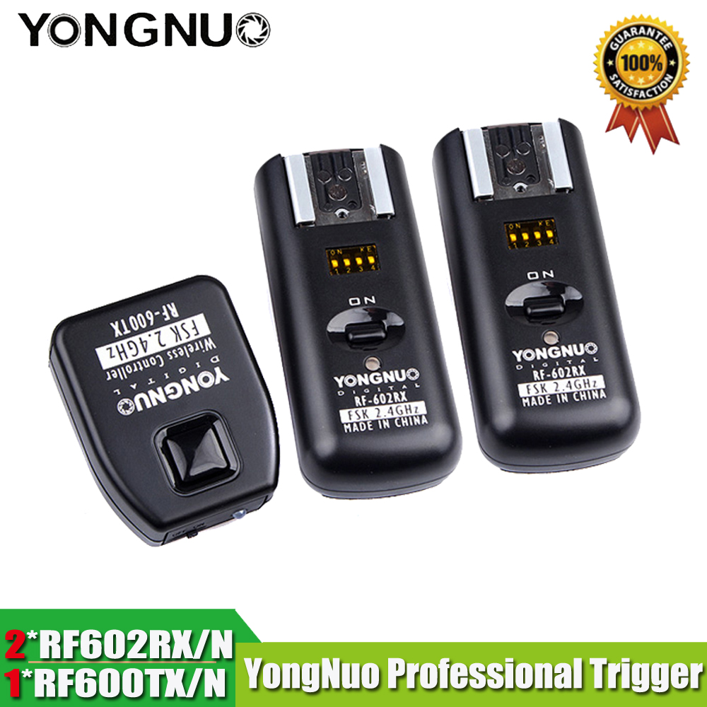 Yongnuo RF 602 RF602 N Wireless Remote Flash Trigger 1 X Transimitter 2 X Receivers For