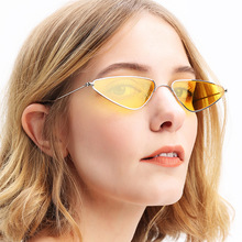 Cat eye sunglasses triangle sunglasses Women Small Frame Sun Glasses Eyewear Female oculos de sol triangle insert metal cat eye sunglasses