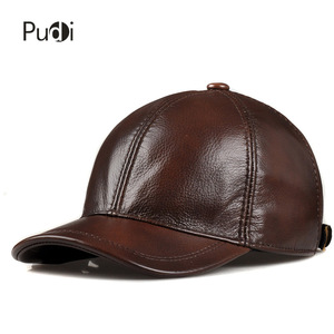 Image 2 - HL171 F Spring genuine leather baseball sport cap hat  mens winter warm brand new cow skin leather newsboy caps hats 5 colors