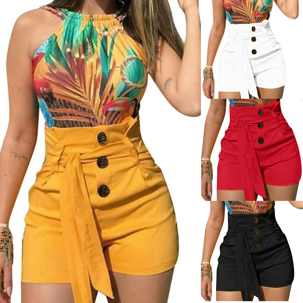 Women High  Button fashion Shorts Summer Casual female Stretch Hot sexy Short Pants with belt Plus Size short feminino