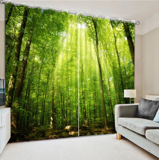 Elegant Modern Style Curtains Living Room Window Green Forest Custom Curtains  Window Curtains For Living Room