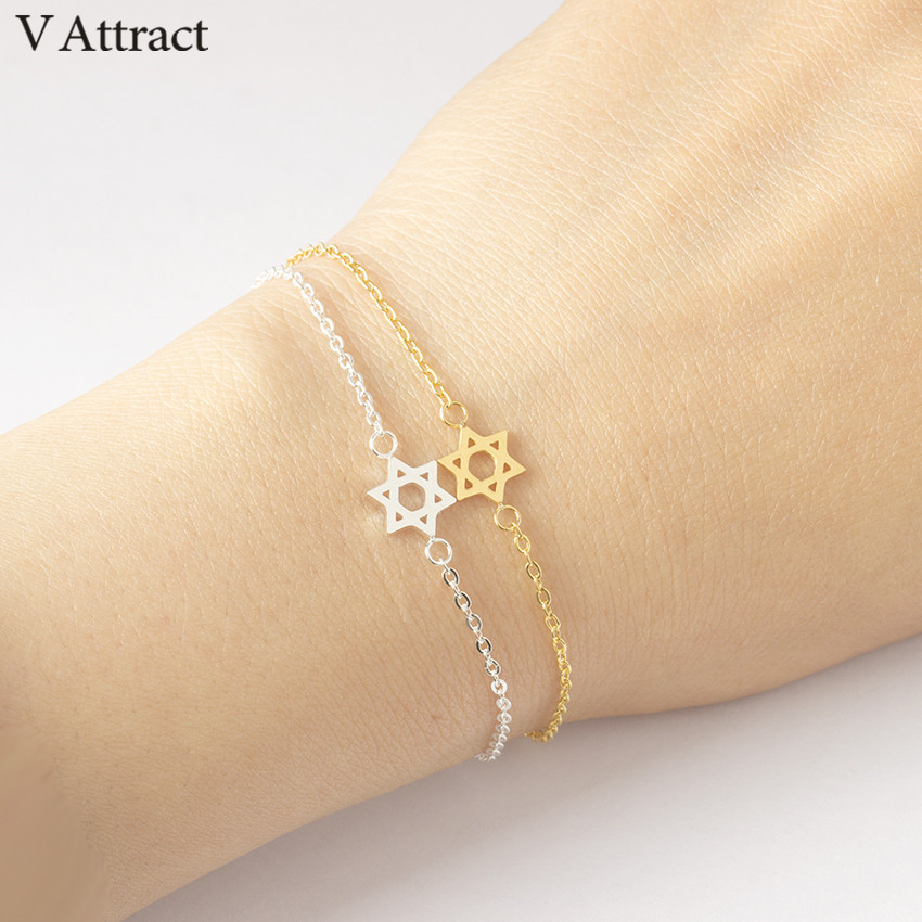 V Attract 2018 Stainless Steel Chain Pulseras Vintage Mujer Jerusalem Magen Star Of David Charm Bracelet Femme Jewish Jewelry