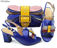 Royalblue Women Shoes and Bag Set In Italy Design Italian Shoes with Matching Bag Set Decorated With Stones 38 43 WENZHAN B94 5