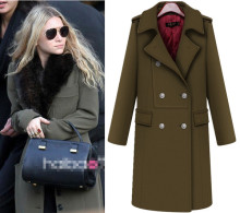 European New Fashion Autumn and Winter Women's Thickening Overcoat Elegant Double Breasted Slim Long Sleeve Wool Jackets Coats